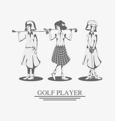 Golf player women in course vector