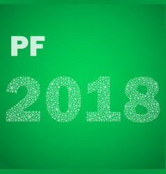green happy new year pf 2018 from little vector image