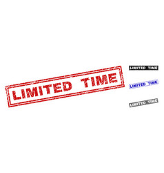 grunge limited time textured rectangle watermarks vector image