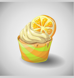 Hand draw citrus cupcake vector