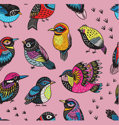 Hand drawn tropical bird pattern vector