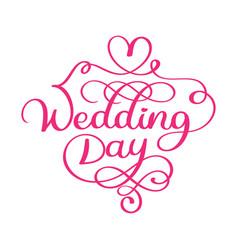 handwritten wedding day text on white vector image