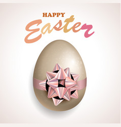 Happy easter egg with bow vector