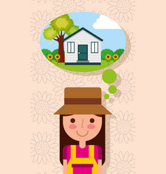 Happy young woman thinking in house with garden vector