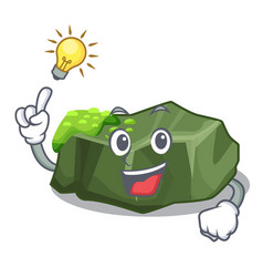 Have an idea green rock moss isolated on cartoon vector
