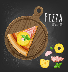 Hawaiian pizza slice vector