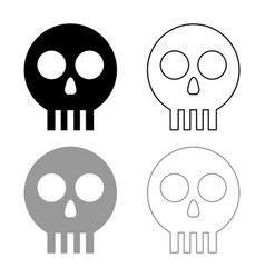 Human skull cranium icon outline set black grey vector