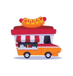 Icon cute food trucks hot dogs vector