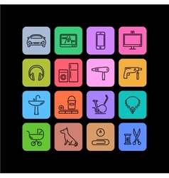 Icons of products categories Linear Color vector