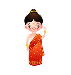 Indian hindu girl in a traditional ethnic red vector