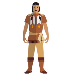 Indian native american man isolated vector