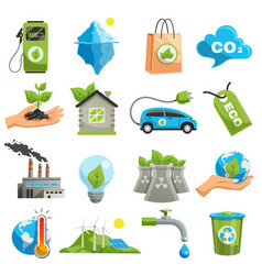 isolated eco icon set vector image