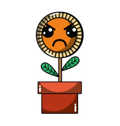 Kawaii cute angry plant flower with leaves vector