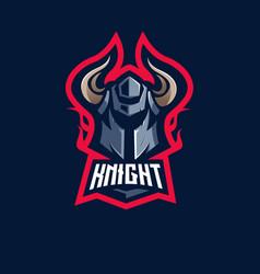 knight e-sport mascot logo design vector image