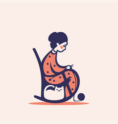 Knitting woman on a chair vector
