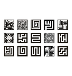 labyrinth symbol collection maze icon set vector image