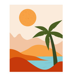 landscape with mountains sea and palm tree vector image
