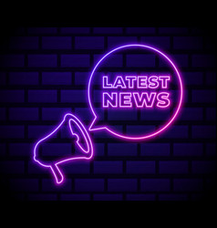 latest news neon light announcement poster vector image