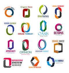Letter o corporate identity business icons vector