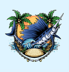 Marlin fish on beach with coconut trees and vector