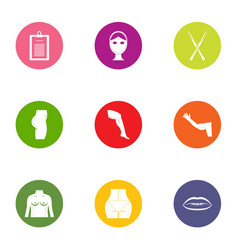Measurement of body icons set flat style vector