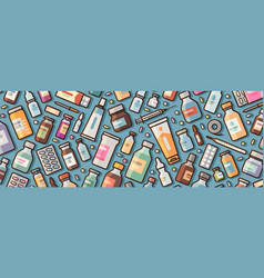medicine pharmacy banner medications and pills vector image