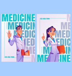 medicine posters with doctors in white coats vector image