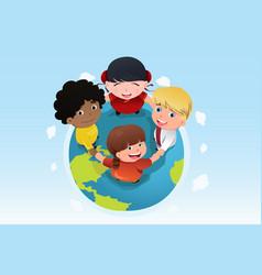 multi ethnic kids holding hands together vector image