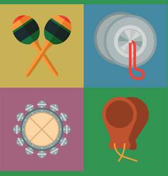 musical tambourine maraca drum wood rhythm music vector image