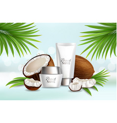 natural coconut cosmetics advertising vector image