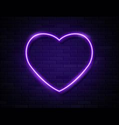 neon violet glowing heart banner on dark empty vector image