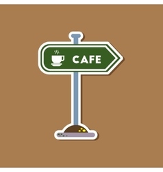 Paper sticker on stylish background cafe sign vector