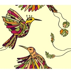 Pattern with couple colibri vector