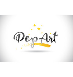 Popart word text with golden stars trail and vector