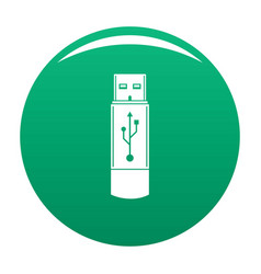 portable flash drive icon green vector image