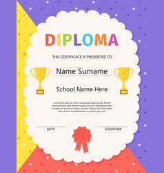 Preschool graduation diploma kid certificate vector
