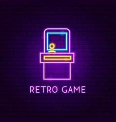 retro game neon label vector image