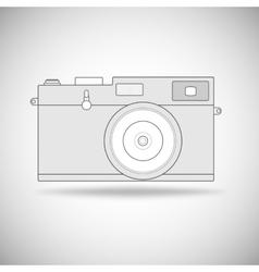 Retro photo camera outline vector