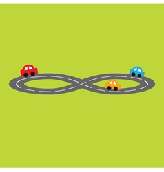 Road in shape of infinity sign and cartoon cars vector