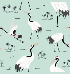 Seamless pattern with japanese cranes background vector