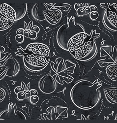 Seamless patterns with pomegranate fig vector