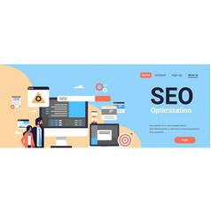 Seo search engine optimization couple man woman vector