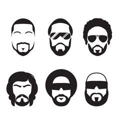 Set of bearded hipster men faces vector