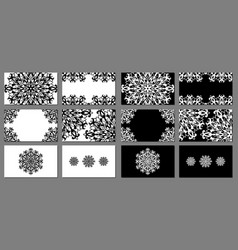 set of black and white business cards vector image