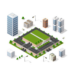 set of isometric objects vector image