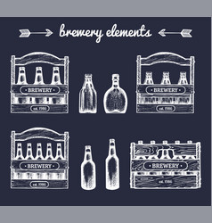 set of vintage brewery elementsretro vector image