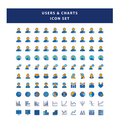 set users and charts icon with filled outline vector image