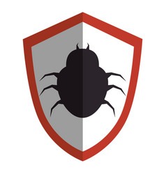 Shield with bug virus alert icon vector