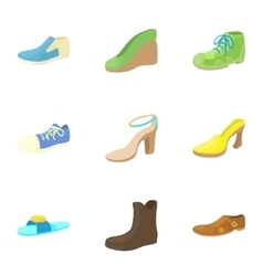 Shoes icons set cartoon style vector