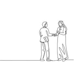 Single line drawing businessmen handshaking vector